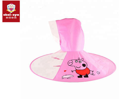 Child Kid Umbrella Cap Peppa Pig Rain Cloak Baby Flying Saucer Pink Color
