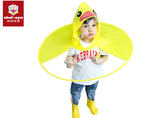 Outdoor Childrens Waterproof Raincoats Poncho Little Yellow Duck UFO Style