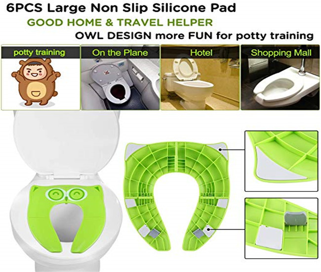 Green Foldable Reusable Potty Training Seat Covers for Baby / Kids